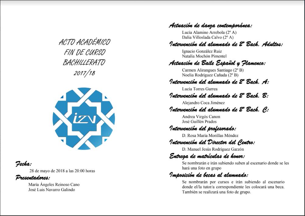 Programa del Acto de Graduación de 2º de Bachillerato