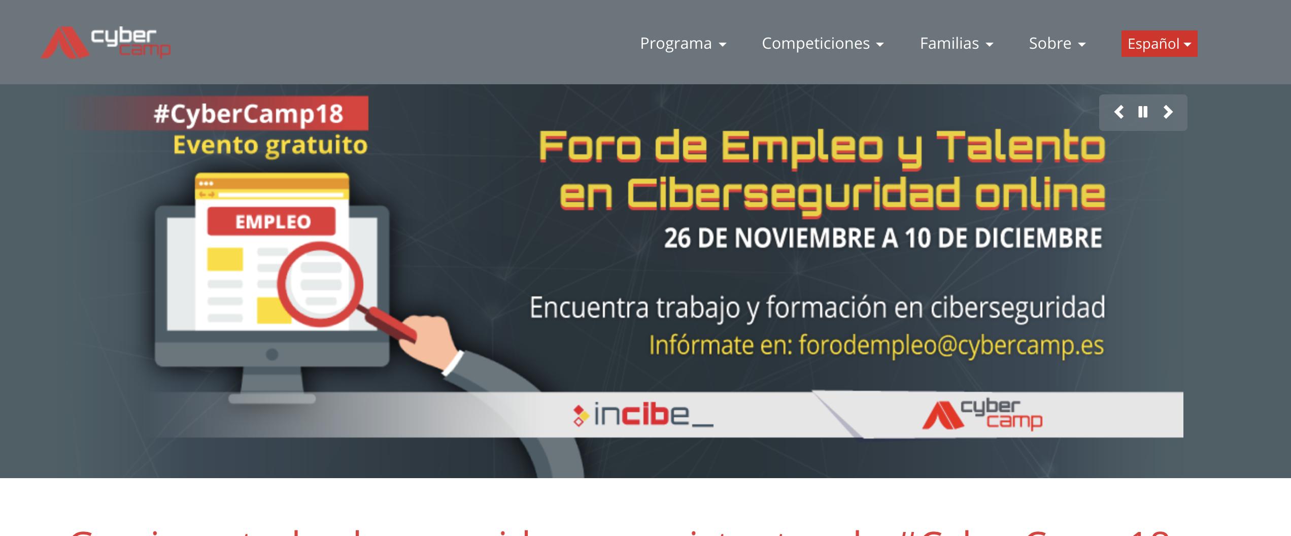 Alumnos de Informática del IZV visitan el CyberCamp 2018 en Málaga.